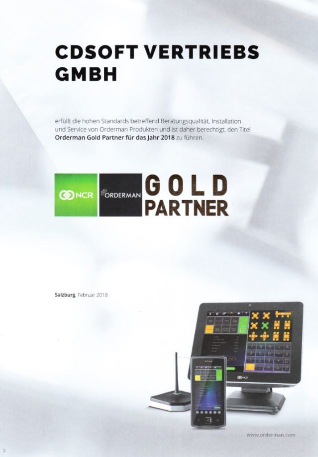 CDSoft Kassensysteme Goldpartner Orderman